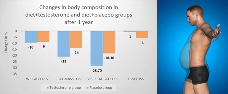 Effects of testosterone treatment on body fat, lean mass